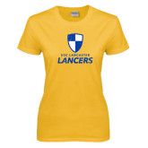 Ladies Gold T Shirt-Primary Logo Distressed