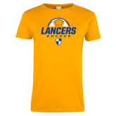 Ladies Gold T Shirt-Lancers Soccer Half Ball