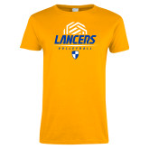 Ladies Gold T Shirt-Lancers Volleyball Half Ball