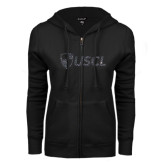 ENZA Ladies Black Fleece Full Zip Hoodie-Shield USCL Graphite Soft Glitter