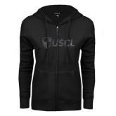 ENZA Ladies Black Fleece Full Zip Hoodie-Shield USCL Graphite Soft Glitter