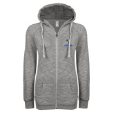 ENZA Ladies Grey/Black Marled Full Zip Hoodie-Primary Logo