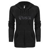 ENZA Ladies Black Light Weight Fleece Full Zip Hoodie-Shield USCL Graphite Soft Glitter