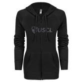 ENZA Ladies Black Light Weight Fleece Full Zip Hoodie-Shield USCL Graphite Soft Glitter