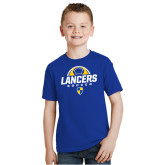 Youth Royal T Shirt-Lancers Soccer Half Ball
