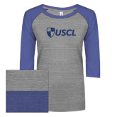 ENZA Ladies Athletic Heather/Blue Vintage Baseball Tee-Shield USCL Blue Glitter