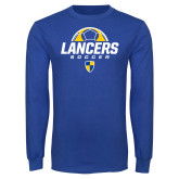 Royal Long Sleeve T Shirt-Lancers Soccer Half Ball