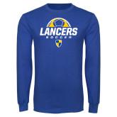 Royal Long Sleeve T Shirt-Lancers Soccer Half Ball