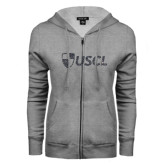 ENZA Ladies Grey Fleece Full Zip Hoodie-Shield USCL Graphite Soft Glitter
