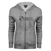 ENZA Ladies Grey Fleece Full Zip Hoodie-Shield USCL Graphite Soft Glitter
