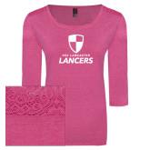 Ladies Dark Fuchsia Heather Tri Blend Lace 3/4 Sleeve Tee-Primary Logo