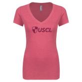 Next Level Ladies Vintage Pink Tri Blend V-Neck Tee-Shield USCL Hot Pink Glitter