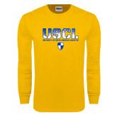 Gold Long Sleeve T Shirt-USCL Stencil Texture