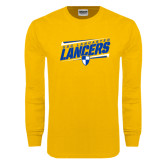 Gold Long Sleeve T Shirt-Slanted USC Lancaster Lancers