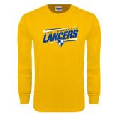 Gold Long Sleeve T Shirt-Slanted USC Lancaster Lancers