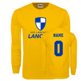 Gold Long Sleeve T Shirt-Primary Logo, Custom Tee w/ Name and #