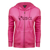 ENZA Ladies Fuchsia Fleece Full Zip Hoodie-Shield USCL Hot Pink Glitter