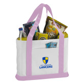 Contender White/Pink Canvas Tote-Primary Logo