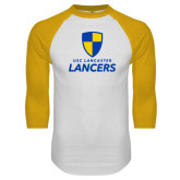 White/Gold Raglan Baseball T-Shirt-Primary Logo