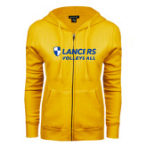 ENZA Ladies Gold Fleece Full Zip Hoodie-Volleyball