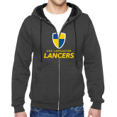 Charcoal Fleece Full Zip Hood-Primary Logo