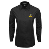 Ladies Black Tonal Pattern Long Sleeve Shirt-Primary Logo