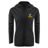 Ladies Tech Fleece Full Zip Black Hooded Jacket-Primary Logo
