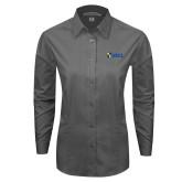 Ladies Grey Tonal Pattern Long Sleeve Shirt-Shield USCL