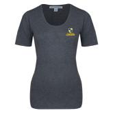 Ladies Charcoal Heather Scoop Neck Sweater-Primary Logo