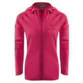 Ladies Tech Fleece Full Zip Hot Pink Hooded Jacket-Primary Logo