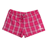 Ladies Dark Fuchsia Juniors Flannel Plaid Boxer-Primary Logo
