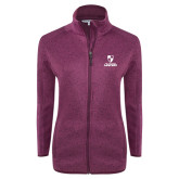 Dark Pink Heather Ladies Fleece Jacket-Primary Logo