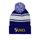 Royal/White Two Tone Knit Pom Beanie with Cuff-Shield USCL