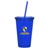 Madison Double Wall Blue Tumbler w/Straw 16oz-Primary Logo