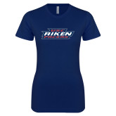 Next Level Ladies SoftStyle Junior Fitted Navy Tee-USC Aiken Pacers Stacked