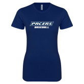 Next Level Ladies SoftStyle Junior Fitted Navy Tee-Baseball