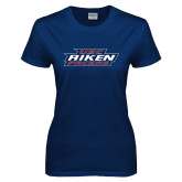 Ladies Navy T Shirt-USC Aiken Pacers Stacked
