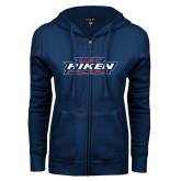 ENZA Ladies Navy Fleece Full Zip Hoodie-USC Aiken Pacers Stacked