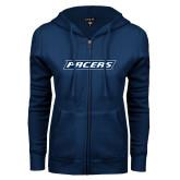 ENZA Ladies Navy Fleece Full Zip Hoodie-Pacers
