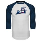 White/Navy Raglan Baseball T Shirt-Secondary Mark