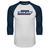 White/Navy Raglan Baseball T Shirt-USC Aiken Pacers Stacked