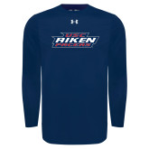Under Armour Navy Long Sleeve Tech Tee-USC Aiken Pacers Stacked
