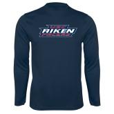 Performance Navy Longsleeve Shirt-USC Aiken Pacers Stacked