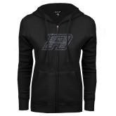 ENZA Ladies Black Fleece Full Zip Hoodie-Primary Mark Graphite Soft Glitter