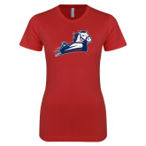 Next Level Ladies SoftStyle Junior Fitted Red Tee-Secondary Mark