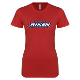 Next Level Ladies SoftStyle Junior Fitted Red Tee-USC Aiken Pacers Stacked