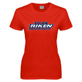 Ladies Red T Shirt-USC Aiken Pacers Stacked