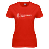 Ladies Red T Shirt-University Mark