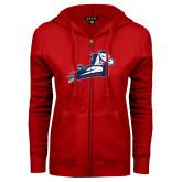 ENZA Ladies Red Fleece Full Zip Hoodie-Secondary Mark