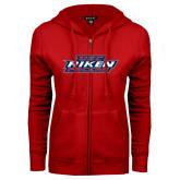 ENZA Ladies Red Fleece Full Zip Hoodie-USC Aiken Pacers Stacked